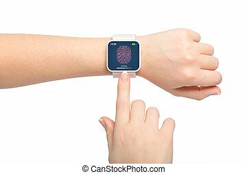 avskärma, fingeravtryck, isolerat, smartwatch, kvinna lämnar, vit