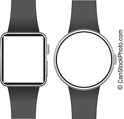 avskärma, isolerat, smartwatch, bakgrund., mall, tom, vit
