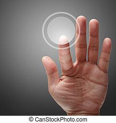 avskärma, pressande, hand, toucha, gräns flat, manlig