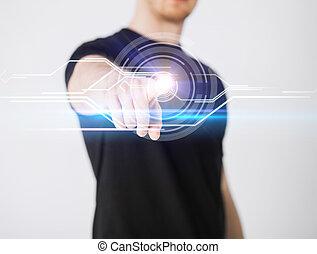 avskärma, rörande, manlig, virtuell, hand