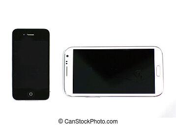 avskärma, smart, två, telefoner, storlek