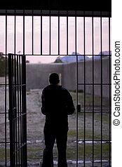 avsked, man, fängelse