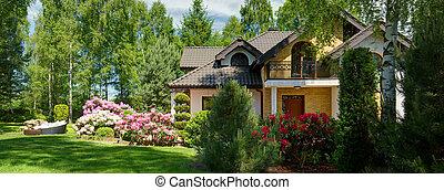 avskild, luxuös, villa, trädgård