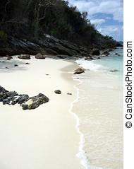 avskild, sandig, bukt, på, tropisk ö