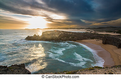avskild, strand, solnedgång