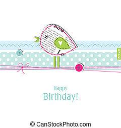 avskrift, kort, födelsedag, utrymme