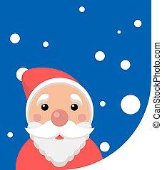 avskrift, kort, mall, utrymme, claus, vektor, jul, -, jultomten