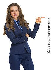 avskrift, kvinna pekande, affär, utrymme