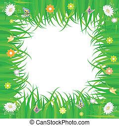 avskrift tomrum, fjäder, ram, vita blommar, grön, gräs