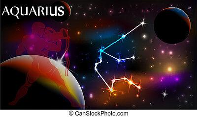 avskrift, vattumannen, underteckna, astrologiska, utrymme
