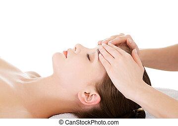 avslappnad, kvinna, tycka om, mottagande, ansikte, massera