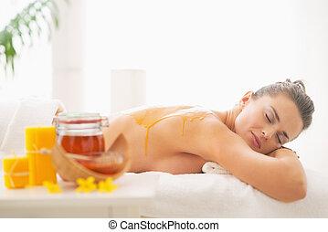 avslappnad, ung kvinna, mottagande, honung, kurort, terapi