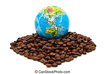 globe and coffee on a white background