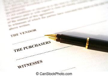 avtal, och, penna