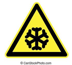 avvertimento, basso, giallo, temperatura