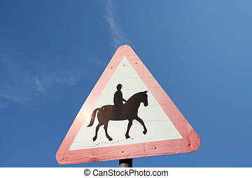 avvertimento, cavalieri equini, avanti, segno