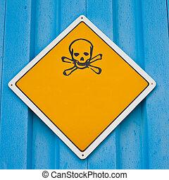 avvertimento, crossbones, cranio, segno