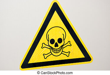 avvertimento, giallo, cranio, segno