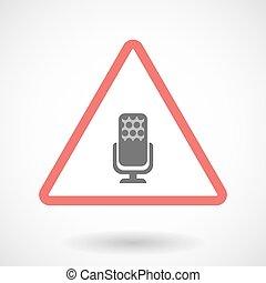 avvertimento, icona, isolato, segno, microfono