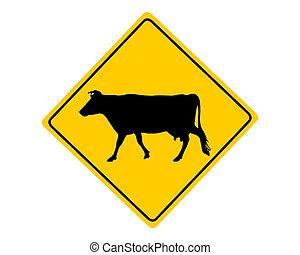 avvertimento, mucca, segno