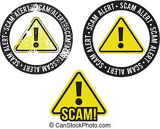 avvertimento, scam, allarme