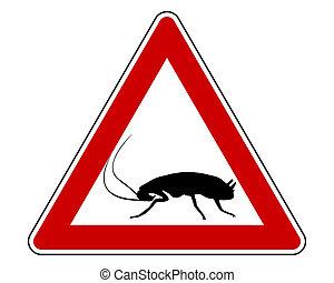 avvertimento, scarafaggio, segno
