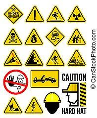 avvertimento, set, segno