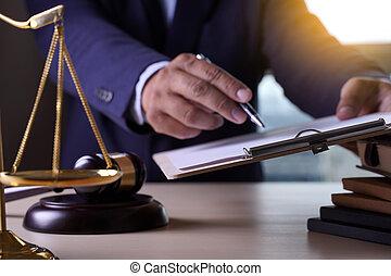 avvocato, giustizia, avvocati, detenere, legge, concetto, squadra