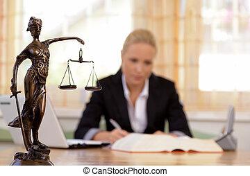 avvocato, in, ufficio
