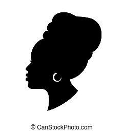 avvolgere, isolato, testa, earring., ragazza, americano, profile., africano, vettore, white., moda, bello, nero, disegno, silhoette, donna