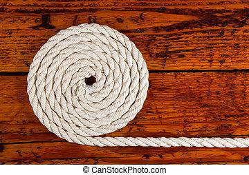 avvolto, corda, bianco, legno, textured