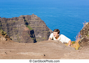 Awaawapuhi trail end on cliff above Na Pali coast on Kauai