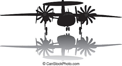 awacs, avión, silueta