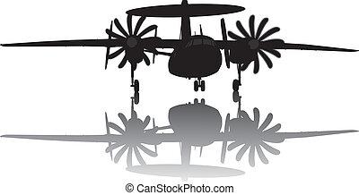 awacs, silhouette, flugzeug
