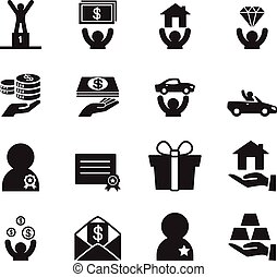 Awad for businessman icons set
