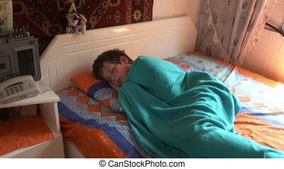 Awake boy - The boy sleeps in the morning before school