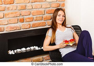 Gorgeous girl eating breakfast.