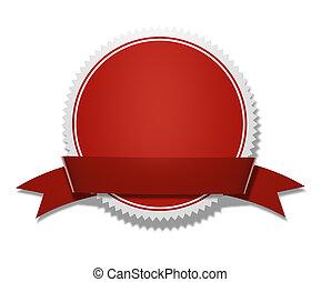Award And Prize Medal With Ribbon - Red circular award and...