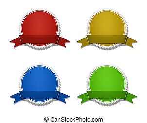 Award And Prize Medals With Ribbon - Four colorful circular...