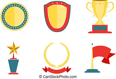 Award badges collection, achievement and success vector...
