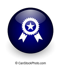 Award blue glossy ball web icon on white background. Round 3d render button.