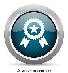 award blue silver chrome border icon on white background