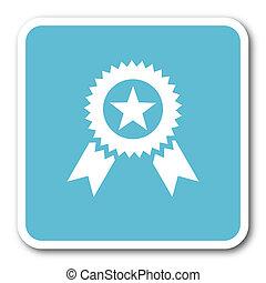 award blue square internet flat design icon