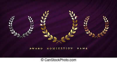 Award ceremonyposter template. Golden, silver and bronze laurel wreath isolated on purple curtain background. Vector awarding banner design