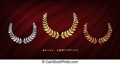 Award ceremonyposter template. Golden, silver and bronze laurel wreath isolated on red curtain background. Vector awarding banner design