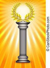 Award column with golden laurel wreath