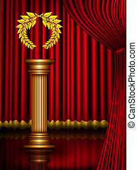 Award column with golden laurel wreath on theater stage