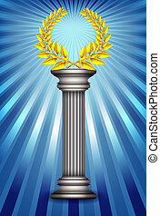 Award column with golden winner laurel wreath