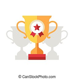 Award Cup flat design single icon