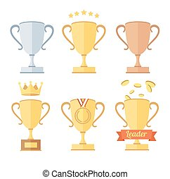 Award Cup Set. Vector